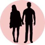 女性と男性のシルエット2